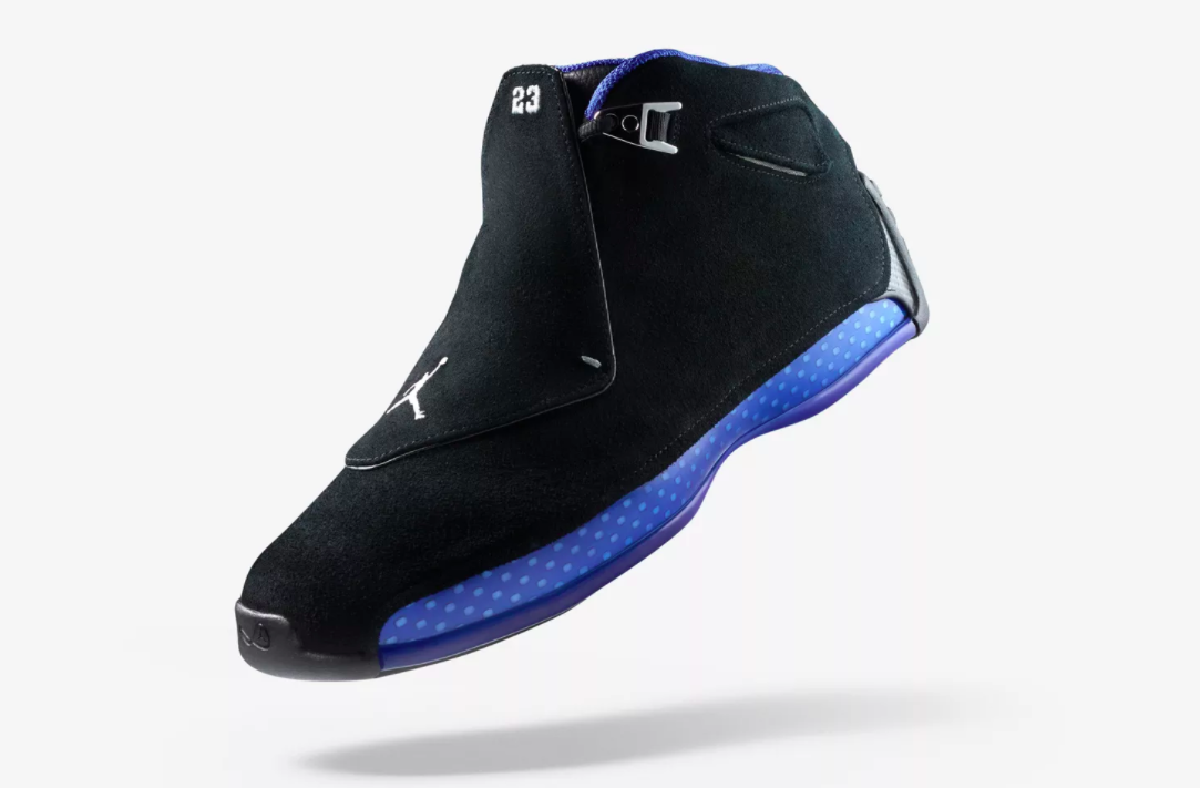 bb5edcf597f8ca Jordan Brand recently announced that they will be releasing the Air Jordan  18 in Black Metallic-Sport Royal on October 11 on the SNKRS app.